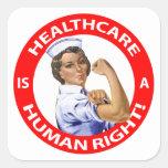 """¡La enfermera """"Rosie"""" dice que la """"atención sanita Calcomanías Cuadradass Personalizadas"""