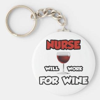 La enfermera… trabajará para el vino llavero personalizado