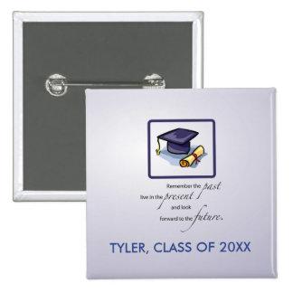 La enhorabuena de la graduación recuerda el pasado pin cuadrado