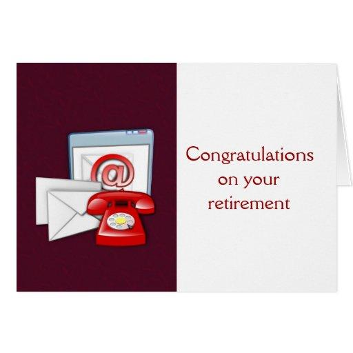 La enhorabuena en su oficina del retiro se retira tarjeta de felicitación