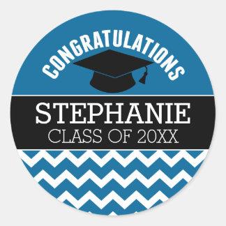 La enhorabuena gradúa - la graduación del negro pegatina redonda