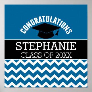 La enhorabuena gradúa - la graduación del negro póster