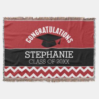 La enhorabuena gradúa - la graduación negra roja manta