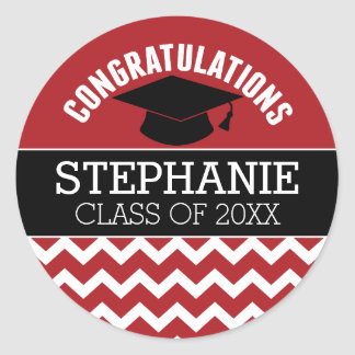 La enhorabuena gradúa - la graduación negra roja pegatina redonda