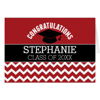 La enhorabuena gradúa - la graduación negra roja tarjeta de felicitación