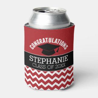 La enhorabuena gradúa - la graduación negra roja enfriador de latas