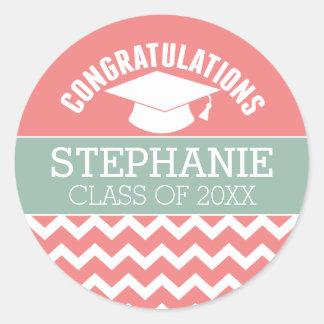 La enhorabuena gradúa - la graduación pegatina redonda