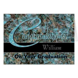 La enhorabuena gradúa la turquesa y a Brown Tarjeta De Felicitación