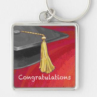 La enhorabuena gradúa negro y rojo llavero cuadrado plateado