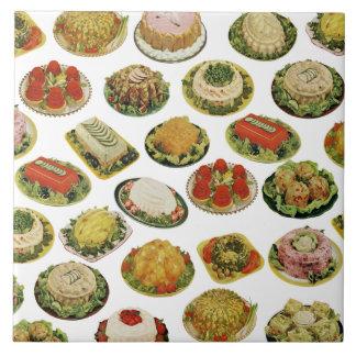 La ensalada de Jello del vintage moldea la teja de