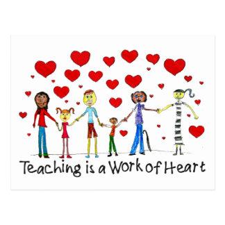 La enseñanza es un trabajo de la postal del corazó