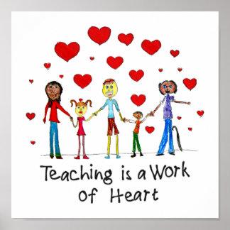 La enseñanza es un trabajo del poster del cuadrado