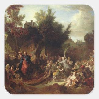 La entrada de Cristo en Jerusalén, c.1720 Pegatina Cuadrada