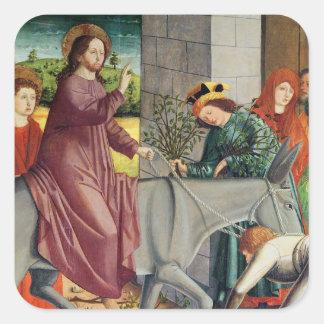 La entrada de Cristo en Jerusalén Pegatina Cuadradas Personalizada