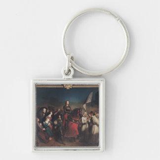La entrada de Juana de Arco en Orleans Llavero Cuadrado Plateado