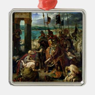 La entrada de los cruzados en Constantinopla Adorno Cuadrado Plateado