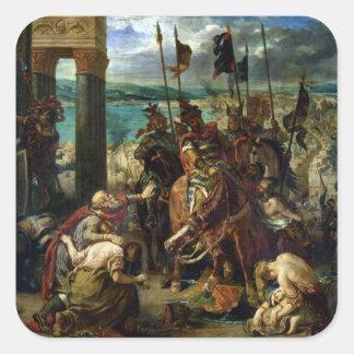 La entrada de los cruzados en Constantinopla Pegatina Cuadrada