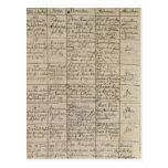 La entrada en el registro bautismal, 1756 de tarjetas postales