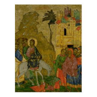 La entrada en Jerusalén, icono ruso Postal