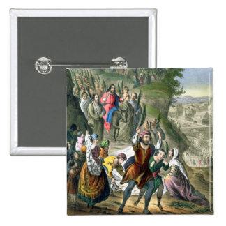 La entrada triunfal de Cristo en Jerusalén, de un  Pin Cuadrada 5 Cm