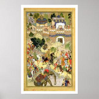 La entrada triunfante de Akbar del emperador en Su Póster