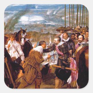 La entrega de Breda de Diego Velázquez Pegatina Cuadrada