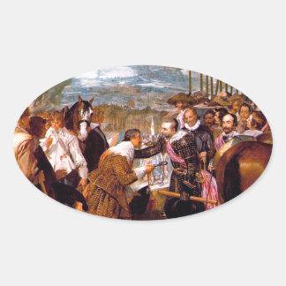 La entrega de Breda de Diego Velázquez Pegatina Ovalada