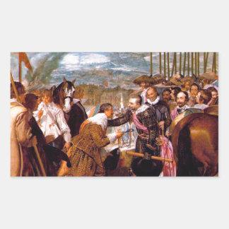 La entrega de Breda de Diego Velázquez Pegatina Rectangular