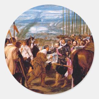 La entrega de Breda de Diego Velázquez Pegatina Redonda