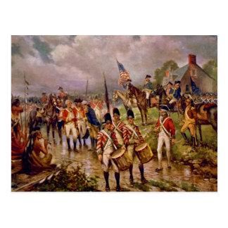 La entrega de Burgoyne en Saratoga de Percy Moran Postal