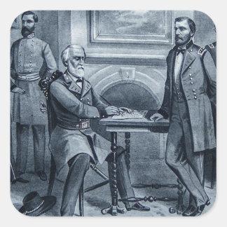 La entrega de Lee en el vintage 1865 de Appomattox Pegatina Cuadrada