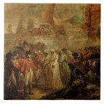 La entrega de los dos hijos de Tipu Sahib (1749- Teja Cerámica