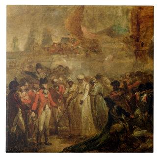 La entrega de los dos hijos de Tipu Sahib (1749- Azulejo Cuadrado Grande