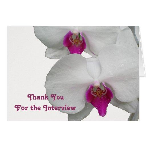 La entrevista blanca de la orquídea le agradece tarjeta pequeña