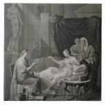 La entrevista de Augustus y de Cleopatra, grabada Azulejo Ceramica
