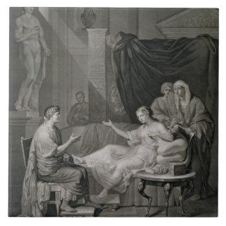 La entrevista de Augustus y de Cleopatra, grabada Azulejo Cuadrado Grande