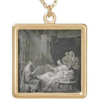 La entrevista de Augustus y de Cleopatra, grabada Colgante Cuadrado