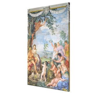 La época dorada (fresco) impresión en lona estirada