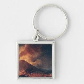 La erupción del monte Vesubio en 1771 Llavero Cuadrado Plateado