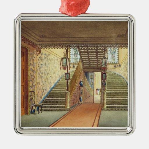 La escalera, de vistas del pabellón real, B Adorno Cuadrado Plateado
