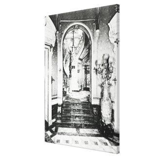 La escalera del vestíbulo y del ónix impresion en lona
