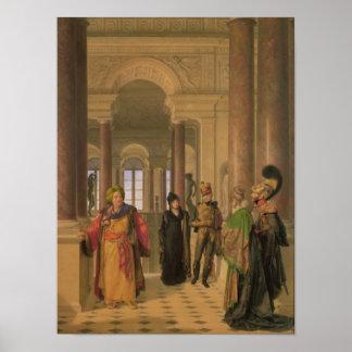 La escalera principal del Louvre, 1817 Poster