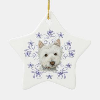 La escama linda del arte y de la nieve del perro adorno navideño de cerámica en forma de estrella