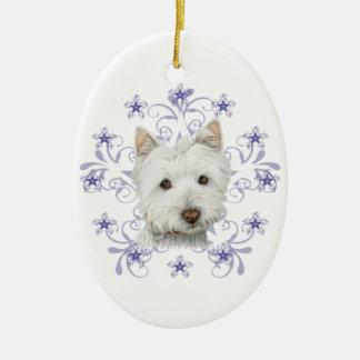 La escama linda del arte y de la nieve del perro adorno navideño ovalado de cerámica