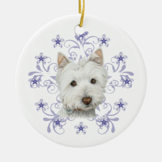 La escama linda del arte y de la nieve del perro adorno navideño redondo de cerámica