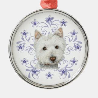 La escama linda del arte y de la nieve del perro adorno navideño redondo de metal
