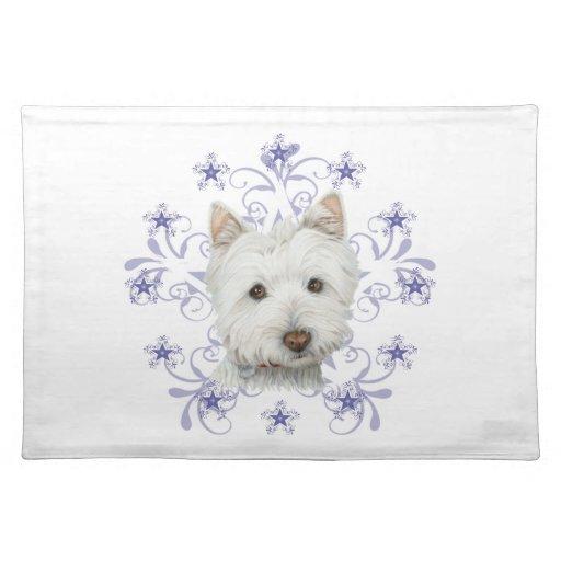La escama linda del arte y de la nieve del perro d mantel