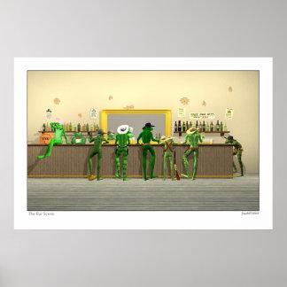 La escena 3D de la barra Póster
