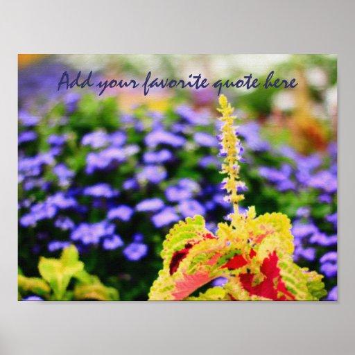 La escena colorida del jardín variada deja Bluemin Posters