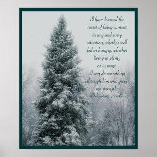 La escena cristiana secreta del invierno póster